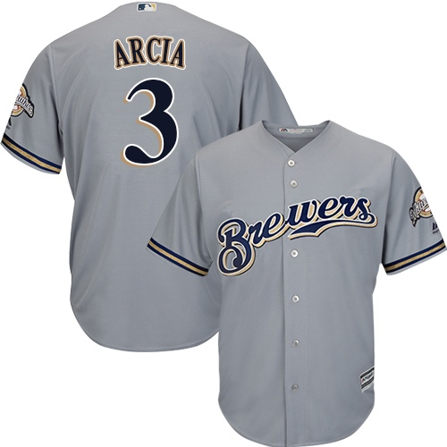 Men's Majestic Milwaukee Brewers #3 Orlando Arcia Replica Grey Road Cool Base MLB Jersey