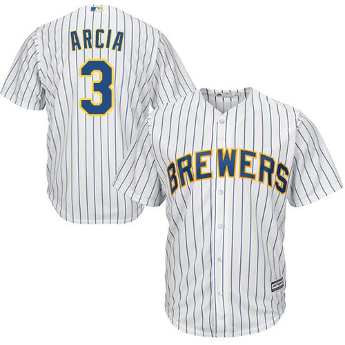 Men's Majestic Milwaukee Brewers #3 Orlando Arcia Replica White Alternate Cool Base MLB Jersey