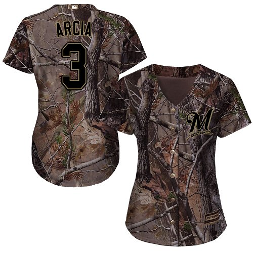 Women's Majestic Milwaukee Brewers #3 Orlando Arcia Authentic Camo Realtree Collection Flex Base MLB Jersey