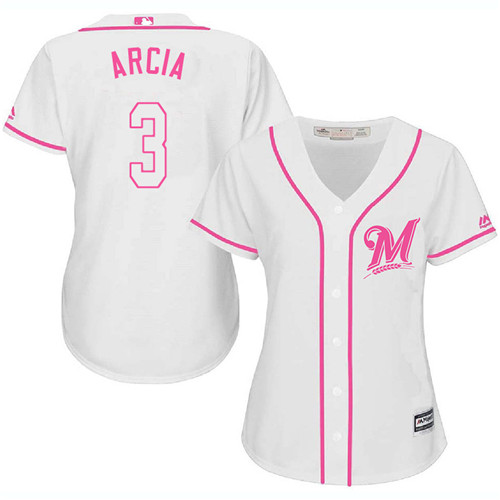 Women's Majestic Milwaukee Brewers #3 Orlando Arcia Replica White Fashion Cool Base MLB Jersey