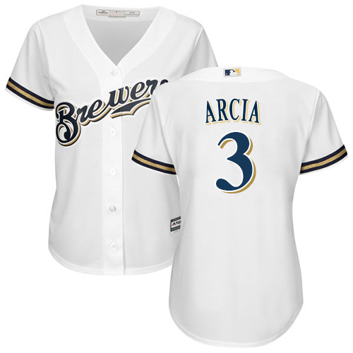 Women's Majestic Milwaukee Brewers #3 Orlando Arcia Replica White Home Cool Base MLB Jersey