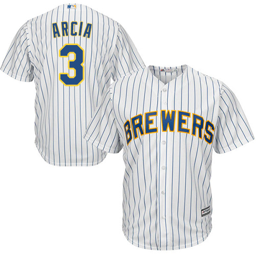 Youth Majestic Milwaukee Brewers #3 Orlando Arcia Replica White Alternate Cool Base MLB Jersey