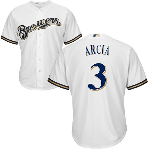 Youth Majestic Milwaukee Brewers #3 Orlando Arcia Replica White Home Cool Base MLB Jersey