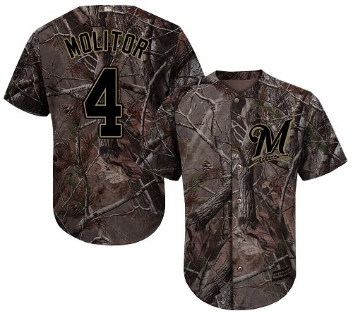 Men's Majestic Milwaukee Brewers #4 Paul Molitor Authentic Camo Realtree Collection Flex Base MLB Jersey