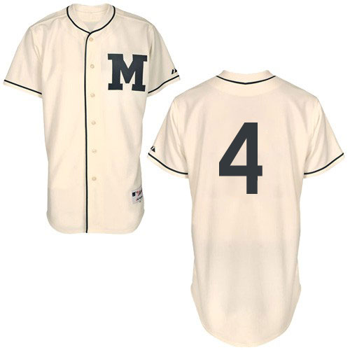 Men's Majestic Milwaukee Brewers #4 Paul Molitor Authentic Cream 1913 Turn Back The Clock MLB Jersey