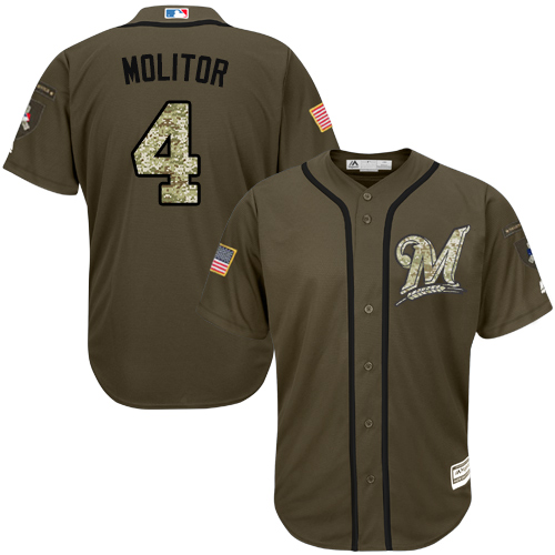 Men's Majestic Milwaukee Brewers #4 Paul Molitor Authentic Green Salute to Service MLB Jersey