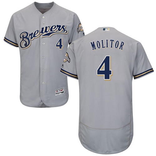 Men's Majestic Milwaukee Brewers #4 Paul Molitor Grey Road Flex Base Authentic Collection MLB Jersey
