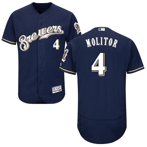Men's Majestic Milwaukee Brewers #4 Paul Molitor Navy Blue Alternate Flex Base Authentic Collection MLB Jersey