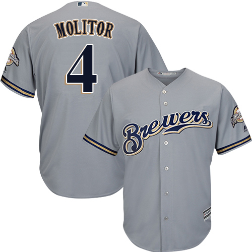 Men's Majestic Milwaukee Brewers #4 Paul Molitor Replica Grey Road Cool Base MLB Jersey