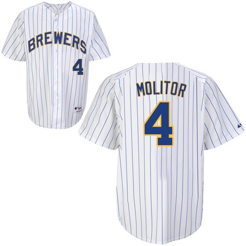 Men's Majestic Milwaukee Brewers #4 Paul Molitor Replica White (blue strip) MLB Jersey