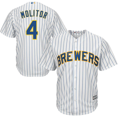Men's Majestic Milwaukee Brewers #4 Paul Molitor Replica White Alternate Cool Base MLB Jersey