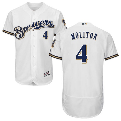 Men's Majestic Milwaukee Brewers #4 Paul Molitor White Alternate Flex Base Authentic Collection MLB Jersey