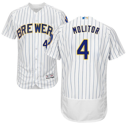 Men's Majestic Milwaukee Brewers #4 Paul Molitor White Home Flex Base Authentic Collection MLB Jersey