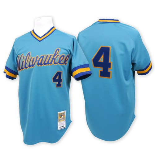 Men's Mitchell and Ness Milwaukee Brewers #4 Paul Molitor Replica Blue Throwback MLB Jersey
