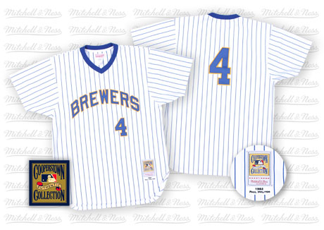 Men's Mitchell and Ness Milwaukee Brewers #4 Paul Molitor Replica White/Blue Strip Throwback MLB Jersey