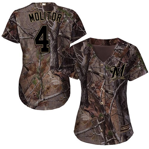 Women's Majestic Milwaukee Brewers #4 Paul Molitor Authentic Camo Realtree Collection Flex Base MLB Jersey