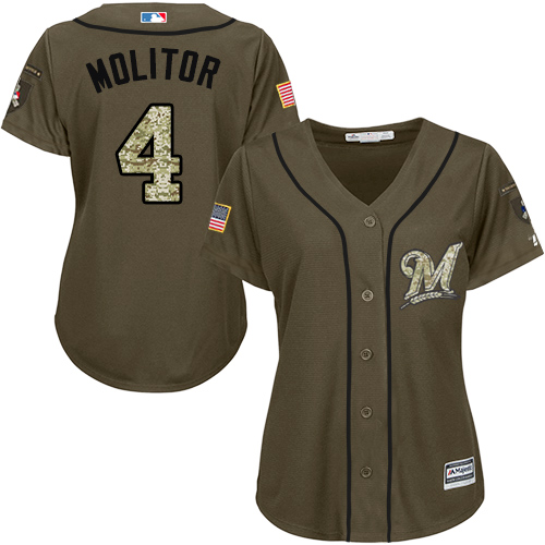 Women's Majestic Milwaukee Brewers #4 Paul Molitor Authentic Green Salute to Service MLB Jersey