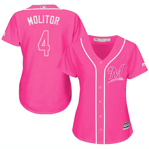 Women's Majestic Milwaukee Brewers #4 Paul Molitor Authentic Pink Fashion Cool Base MLB Jersey