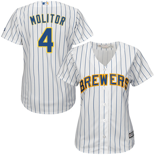 Women's Majestic Milwaukee Brewers #4 Paul Molitor Authentic White Alternate Cool Base MLB Jersey