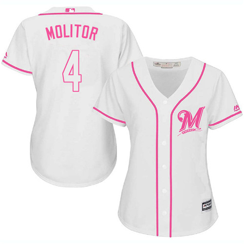 Women's Majestic Milwaukee Brewers #4 Paul Molitor Authentic White Fashion Cool Base MLB Jersey