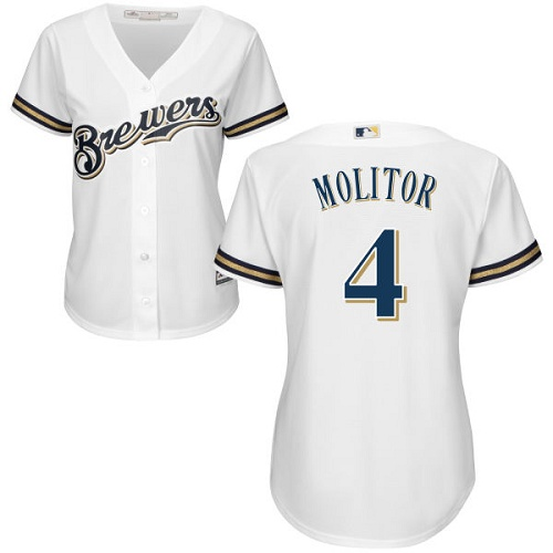 Women's Majestic Milwaukee Brewers #4 Paul Molitor Authentic White Home Cool Base MLB Jersey