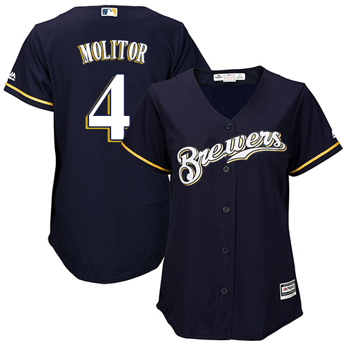 Women's Majestic Milwaukee Brewers #4 Paul Molitor Replica Navy Blue Alternate Cool Base MLB Jersey