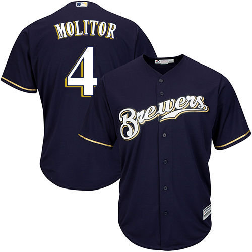 Youth Majestic Milwaukee Brewers #4 Paul Molitor Replica Navy Blue Alternate Cool Base MLB Jersey