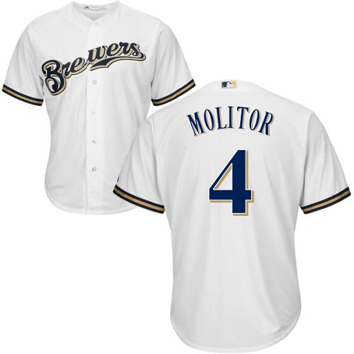 Youth Majestic Milwaukee Brewers #4 Paul Molitor Replica White Home Cool Base MLB Jersey