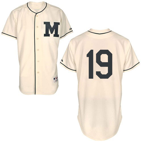 Men's Majestic Milwaukee Brewers #19 Robin Yount Authentic Cream 1913 Turn Back The Clock MLB Jersey