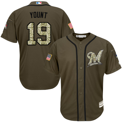 Men's Majestic Milwaukee Brewers #19 Robin Yount Authentic Green Salute to Service MLB Jersey