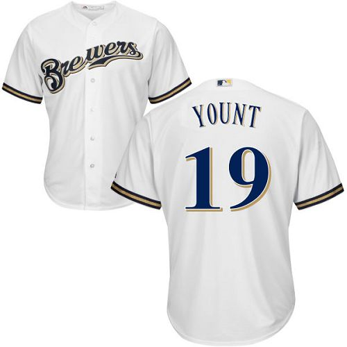 Men's Majestic Milwaukee Brewers #19 Robin Yount Replica White Home Cool Base MLB Jersey