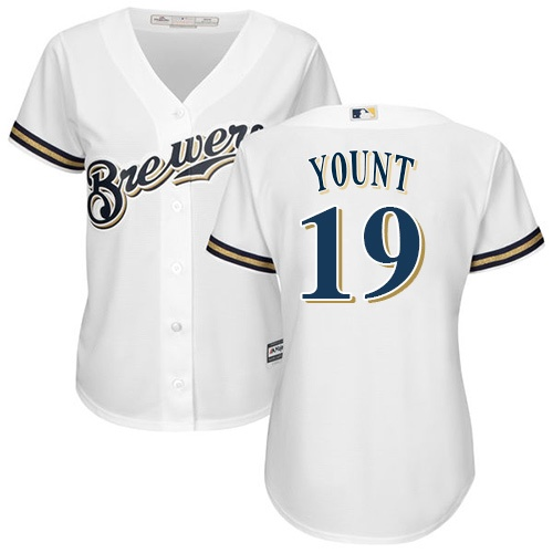 Women's Majestic Milwaukee Brewers #19 Robin Yount Authentic White Home Cool Base MLB Jersey