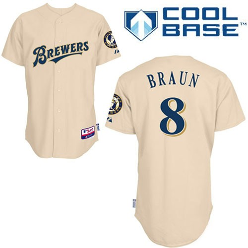 Men's Majestic Milwaukee Brewers #8 Ryan Braun Authentic Cream YOUniform Cool Base MLB Jersey