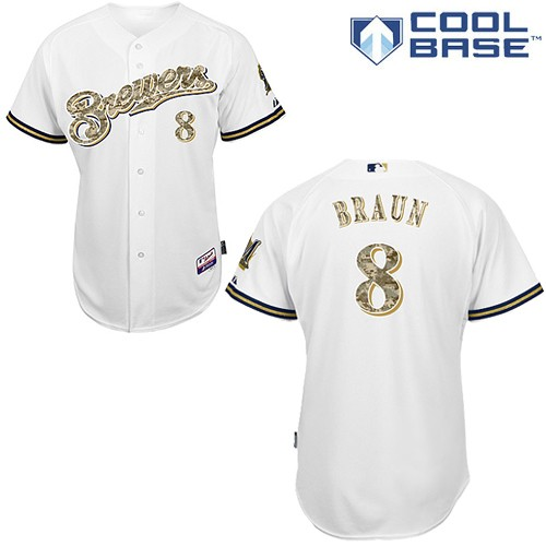 Men's Majestic Milwaukee Brewers #8 Ryan Braun Authentic White USMC Cool Base MLB Jersey