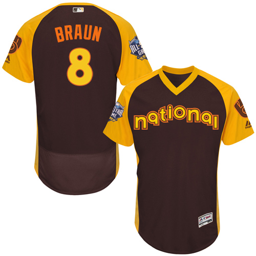 Men's Majestic Milwaukee Brewers #8 Ryan Braun Brown 2016 All-Star National League BP Authentic Collection Flex Base MLB Jersey