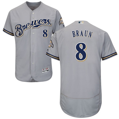 Men's Majestic Milwaukee Brewers #8 Ryan Braun Grey Road Flex Base Authentic Collection MLB Jersey