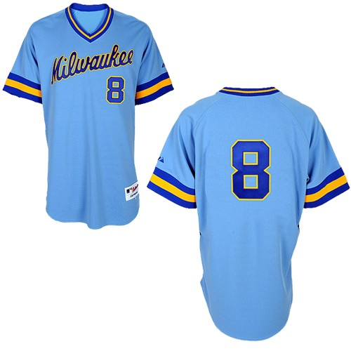 Men s Majestic Milwaukee Brewers  8 Ryan Braun Replica Blue 1982 Turn Back  The Clock MLB aba8a6544