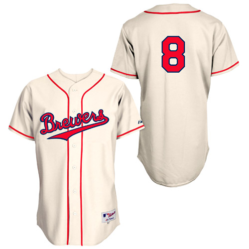Men's Majestic Milwaukee Brewers #8 Ryan Braun Replica Cream 1948 Turn Back The Clock MLB Jersey