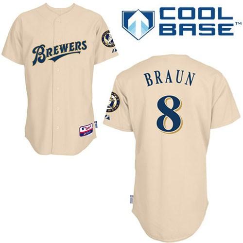 Men's Majestic Milwaukee Brewers #8 Ryan Braun Replica Cream YOUniform Cool Base MLB Jersey