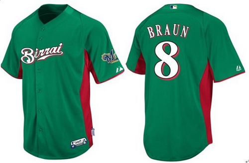 Men's Majestic Milwaukee Brewers #8 Ryan Braun Replica Green Birrai Cool Base MLB Jersey