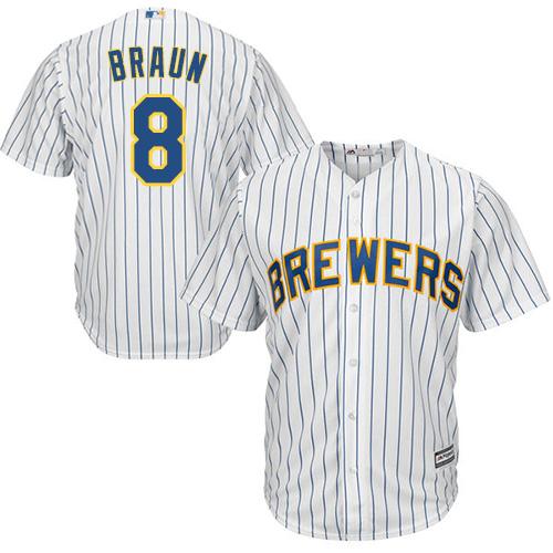 Men's Majestic Milwaukee Brewers #8 Ryan Braun Replica White Alternate Cool Base MLB Jersey