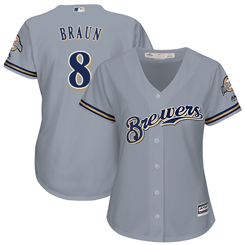 Women's Majestic Milwaukee Brewers #8 Ryan Braun Authentic Grey Road Cool Base MLB Jersey