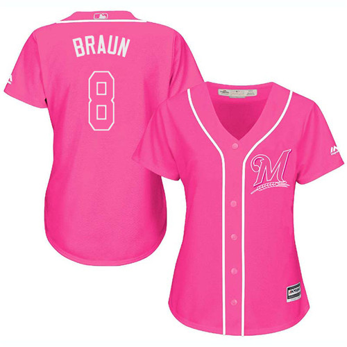 Women's Majestic Milwaukee Brewers #8 Ryan Braun Replica Pink Fashion Cool Base MLB Jersey