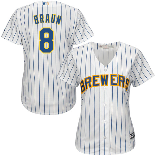 Women's Majestic Milwaukee Brewers #8 Ryan Braun Replica White/Blue Strip MLB Jersey