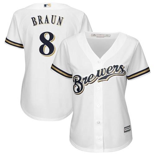 Women's Majestic Milwaukee Brewers #8 Ryan Braun Replica White MLB Jersey