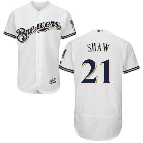 Men's Majestic Milwaukee Brewers #21 Travis Shaw White Flexbase Authentic Collection MLB Jersey