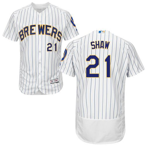 Men's Majestic Milwaukee Brewers #21 Travis Shaw White/Royal Flexbase Authentic Collection MLB Jersey