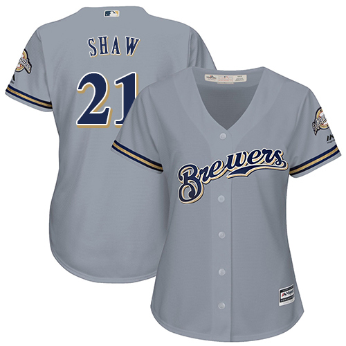 Women's Majestic Milwaukee Brewers #21 Travis Shaw Replica Grey Road Cool Base MLB Jersey