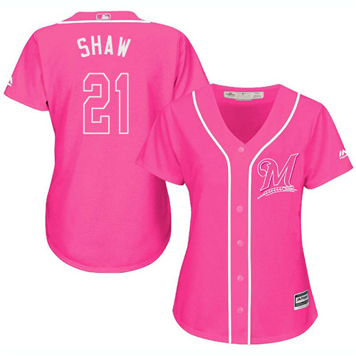 Women's Majestic Milwaukee Brewers #21 Travis Shaw Replica Pink Fashion Cool Base MLB Jersey