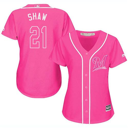 Women's Majestic Milwaukee Brewers #21 Travis Shaw Replica Pink Fashion Cool Base MLB Jersey